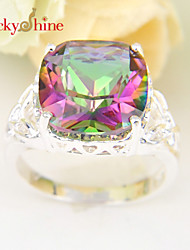Lucky Shine Sparking 925 Silver Fire Classic Square Multi-Colored Mystic Topaz Crystal Gemstone Rings For Holiday Gift