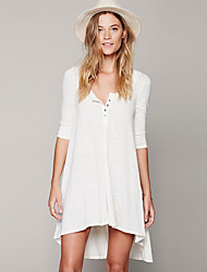 Women's Sexy Solid Loose Dress , Asymmetrical Asymmetrical Cotton