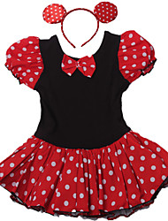 Girls Kids Mini Mouse Polka Dot Short Sleeve Ballet Tutu Cotton Leotard Skate Dancewear Birthday Dress China SZ 2-10Y