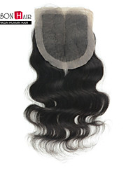 "1 Pc/Lot 8""-20"" Indian Hair Silk Base Closure Natural Black Body Wave 4""x4"" Size Silk Top Closure"