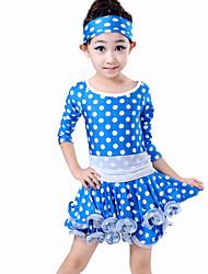 Vestidos(Azul / Fucsia,Espándex / Poliéster,Danza Latina / Samba) -Danza Latina / Samba- paraNiños Lunares RepresentaciónPrimavera,