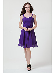 Knee length Burgundy Royal Blue  Ivory Silver Black  Sage Jade Pink Chiffon Bridesmaid Dress A-line