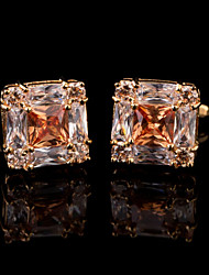 Fashion Copper Men Jewelry Silver Square Orange Crystal CZ Rhinestone Delicate Button Cufflinks(1Pair)