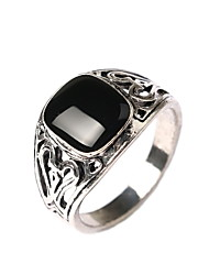 Ancient Carved Square Gemstone Silver Rings
