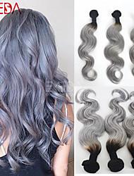 3pcs / lot extensiones brasileñas virginales del pelo humano ombre de plata gris pelo ombre pelo gris de dos tonos de pelo teje