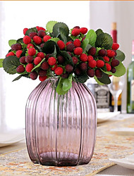 9 Head/Branch wood Strawberry  Berry Fake Plant Decoration