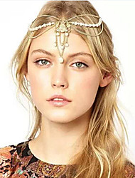 Women Crown Pearl Multilayer Tassel Chain Headband Hair Accessories