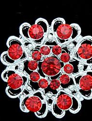 Fashion Red Crystal Silver Broche plaqué des femmes
