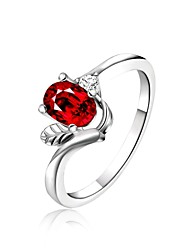 925 Silver Plated Red Crystal Statement Rings Wedding/Party/Daily/Casual 1pc