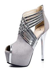 Women's Shoes Fleece Low Heel Heels / Peep Toe Sandals Casual Black / Blue / Pink / Gray