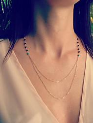 vintage noir cristal bijou double chaîne collier pendentif en alliage, petit collier