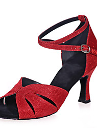 Non Customizable Women's Dance Shoes Sparkling Glitter Sparkling Glitter Latin Sandals Flared Heel PracticeBlack / Blue / Brown / Red /