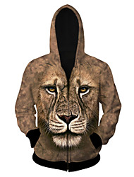Men's High Quality Creative Fashion Personality Unique Print Animals Space Cotton 3D Hooded Jackets —— The Lion
