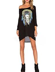Women's Character Black T-shirt , Off Shoulder Long Sleeve