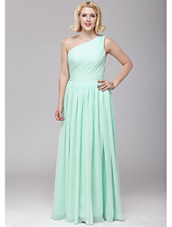 Floor-length Chiffon Bridesmaid Dress - Sage A-line One Shoulder