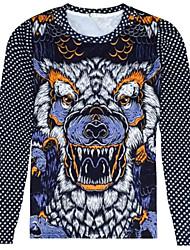 Man 3 d digital printing animal motifs round neck long sleeve T-shirt