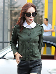 Fashion Winter Women's Casual Round Neck Long Sleeve Suede Short Jacket Casual Coat