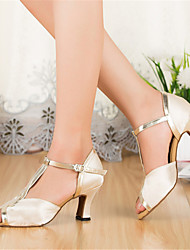 Customizable Women's Dance Shoes Satin Satin Latin Heels Stiletto Heel Indoor Ivory