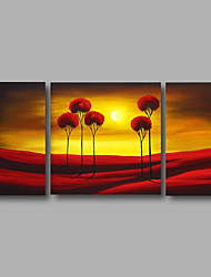 Ready to Hang Stretched Hand-Painted Oil Painting Canvas Wall Art Trees Sunshine Modern Three Panels