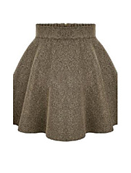 Women's Solid Black / Brown / Gray Skirts , Casual / Cute Knee-length