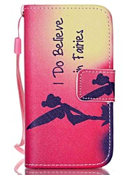 Red Pattern PU Leather Material Flip Card Phone Case for iPhone 4/4S