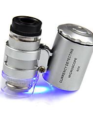 Kleinste Juwelier Microscoop 60X 2 LED Mini Pocket microscoop vergrootglas Juwelier Loep