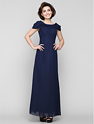 Sheath / Column Mother of the Bride Dress Ankle-length Short Sleeve Chiffon with Beading