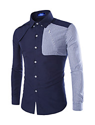 Men's Fashion Casual Stripe Spliced Cotton Shirt