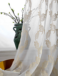 (Two Panels)Modern Leaf Embroidered Sheer Curtain Curtain