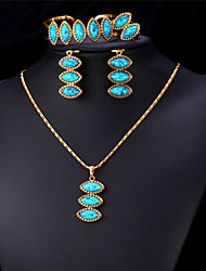 Vogue Turquoise Jewelry Set for Women 18K Real Gold   Platinum Plated Ethnic   New Fashion Turkish Jewelry High Quality