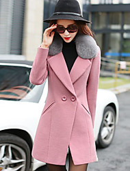 Women's Going out / Work / Party/Cocktail Vintage / Sophisticated Coat,Solid Notch Lapel Long Sleeve Winter Pink / Red / Green Wool Thick