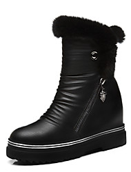 Women's Shoes Leatherette Flat Heel Snow Boots Boots Party & Evening / Dress / Casual Black / White