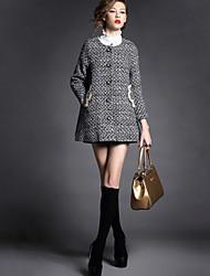 Damen Solide Mantel,Herbst Rollkragen Langarm Schwarz Undurchsichtig Andere
