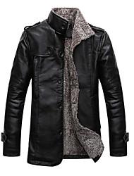 Men's fashion leisure Korean version plus velvet long version of the New England thick leather fringe leather coat
