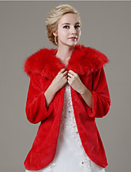 Fur Coats Coats/Jackets 3/4-Length Sleeve Faux Fur Red Wedding / Party/Evening / Casual Open Front
