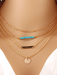 Wholesale Women Necklace European Style Turquoise Round Pendant Layered Chain Necklace