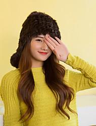 Women Cute Rabbit Fur  Hats with Pompon LD00078