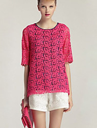 Women's Restoring ancient ways  Lace Pink Blouse Round Neck ½ Length Sleeve (lace chiffon)