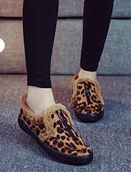 Women's Shoes Fleece Flat Comfort  Flats / Loafers / Slip-on Outdoor / Casual Black / Gray / Multi-color / Khaki