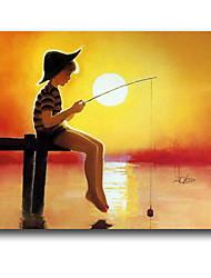 IARTS®Kid Go Fishing on Sunset Cartoon Style Handmade Oil Painting