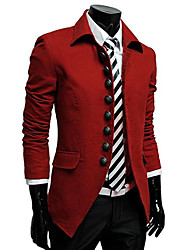 Men's Stand Coats & Jackets , Polyester Long Sleeve Casual Button Fall D&D