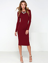 Women's Solid Color Red / Black Dresses , Sexy / Bodycon Round Long Sleeve