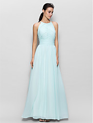 Floor-length Chiffon Bridesmaid Dress Sheath / Column Jewel with Draping