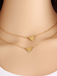 Hot Sales Fashion Jewelry Gold Triangle Double Chain Multilayers Necklace