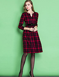 Women's Casual Plaid A Line Dress , V Neck Maxi Others