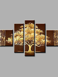 Ready to Hang Stretched Hand-Painted Oil Painting Canvas Wall Art Trees Brown Abstract Modern Five Panels