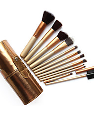 12pcs/set Golden Cylinder Makeup Brushes Powder Foundation Eyeshadow Eyeliner Lip Brush Set