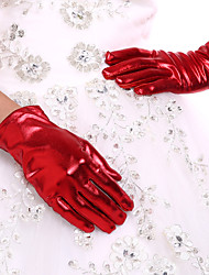 New Women's Wrist Length Party Evening Events Fingertip Gloves Bridal Glove(Red/Black/Gold) +DIY Pearls and Rhinestones