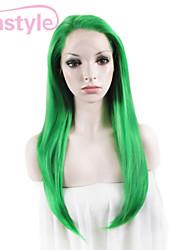 drag queen perruques vertes perruques avant 24inch forte densité de dentelle suisse droites chaleur synthétique résistant