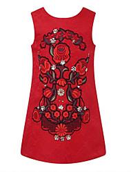 Vestido Chica de - Primavera / Otoño - Algodón - Rojo